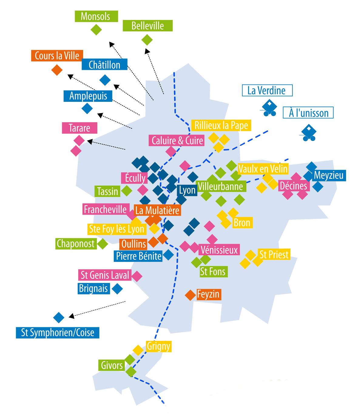 Carte centres sociaux culturels Rhône